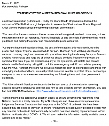 Statement from Alberta AFN Regional Chief: March 11