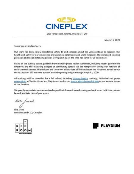 Cineplex closing across Canada until April 2