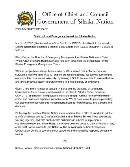 State of Local Emergency issued for Siksika Nation March 16